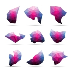 Colorful abstract geometric 3d stone shape vector