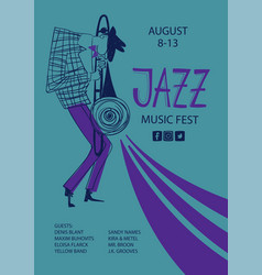 Colorful jazz poster with cartoon trombone player vector