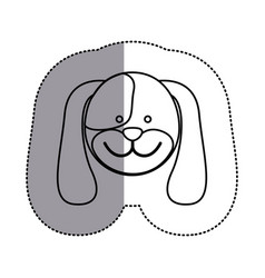 Contour face dog icon vector