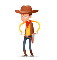 Cowboy wild west american retro gunman cartoon vector