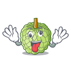 Crazy ripe sugar apple fruit on mascot vector