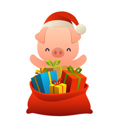 cute pig behind toy bag with gifts on white vector image