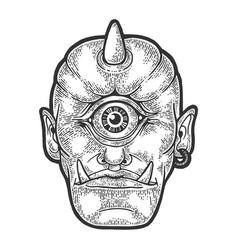 cyclop myth creature sketch engraving vector image