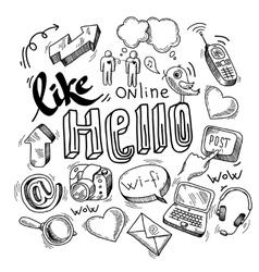 Doodle social media symbols vector