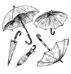 Drawing set of umbrellas vector image