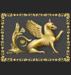 Emblem with golden gryphon vector