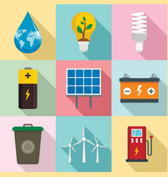 Energy saving icon set flat style vector