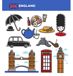 England uk travel tourism landmarks and famous vector