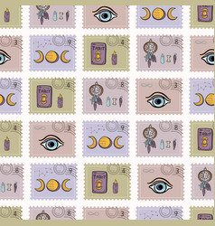 esoteric magic postage stamps hand drawn seamless vector image