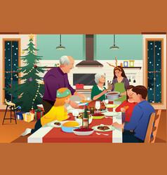 Family having christmas dinner together vector