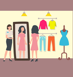 Fashion shop or store customer and shop assistant vector