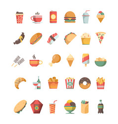 fast food icon junk food trash unhealthy products vector image