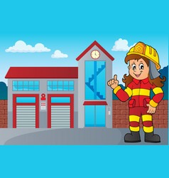 Firefighter woman image 3 vector