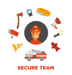 Firefighting and fire secure team poster of vector