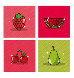 Fruits set fresh delicious dieting healthy vector