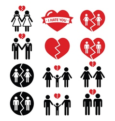 Gay or lesbian couple breakup divorce icon vector
