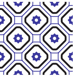 geometric mediterranean blue and white rhombus vector image