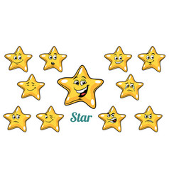 Gold star emotions emoticons set isolated on white vector
