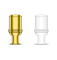 golden toilet bowl and white ceramic sanitary vector image