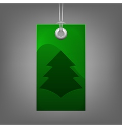 Green price tag with Christmas tree vector