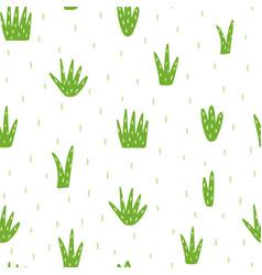Hand drawn green grass seamless pattern vector