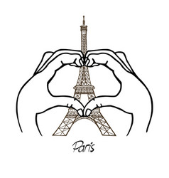 hands in the shape of the heart and the eiffel vector image