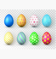 happy easter color easter eggs on transparent vector image