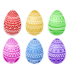 happy easter colorful eggs set hand draw vector image