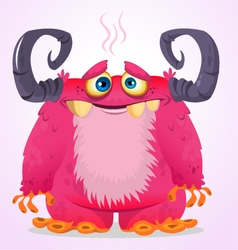 Happy Halloween cartoon pink monster vector