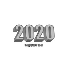 happy new year 2020 gray isometry 3d text vector image