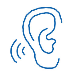 Hears sound doodle icon hand drawn vector