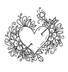 Heart pierced by arrow heart decorated flowers vector