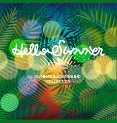 hello summer lettering text blurred tropical view vector image