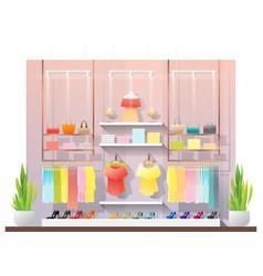 Interior scene of modern women clothing store vector