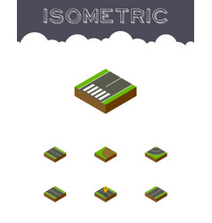 isometric way set of plane navigation turning vector image