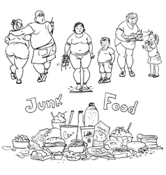 Junk food and obese people vector