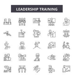 Leadership training line icons signs set vector
