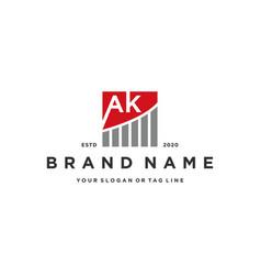 Letter ak chart financial logo design vector