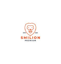 Lion head face smile line logo design vector