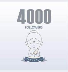 Little monk showing gratitude for 4000 followers vector