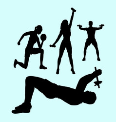 Male and female pilates sport exercise healthy sil vector