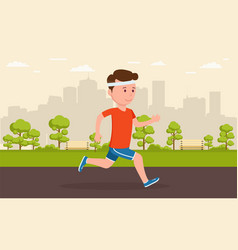 man jogging in park amid a big city vector image