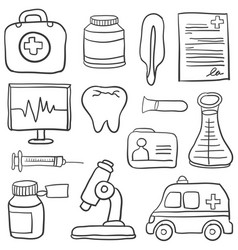 Medical object hand draw of doodles vector