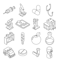 Medicine and health care isometric 3d line icons vector image