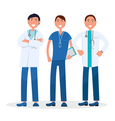 Men team of three therapists standing and smiling vector