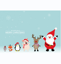 merry christmas greeting card with rats foxes vector image