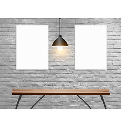 Mock up poster on white brick wall in interior vector