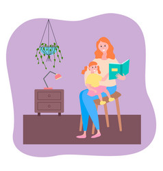 mother reading book her little daughter sitting on vector image