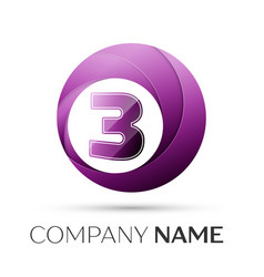 Number three logo symbol in the colorful circle on vector