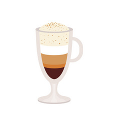 Offee caramel macchiato in a glass cup vector